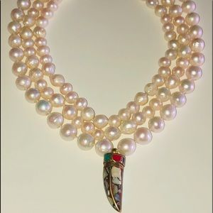 Triple Strand Pearl Necklace with Enamel Drop